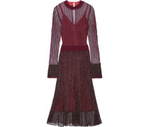 Woman Ruffle-trimmed Metallic Crochet-knit Midi Dress Burgundy