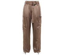 Belted Satin Tapered Pants Brass
