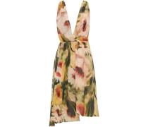 Wrap-effect floral-print crepe de chine dress