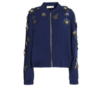 Floral-appliquéd Crepe Jacket Navy