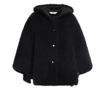 Woman Wool-fleece Hooded Cape Black