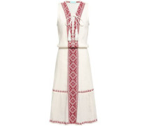 Gwyneth Lace-up Embroidered Crinkled Cotton-gauze Dress Off-white