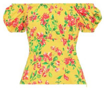 Dione Off-the-shoulder Floral-print Cotton-blend Poplin Top Yellow