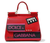 Woman Sicily Appliquéd Printed Textured-leather Shoulder Bag Red