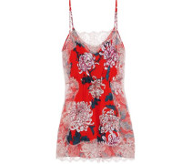 Lace-trimmed Floral-print Silk Crepe De Chine Chemise Red