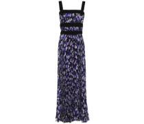 Cutout velvet-trimmed silk-georgette maxi dress