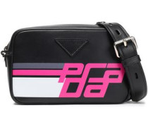 Racing Logo Printed Leather Shoulder Bag Black Size --