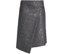 Asymmetric embellished houndstooth wool skirt