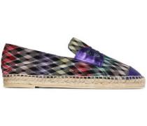 Metallic leather-trimmed crochet-knit espadrille sneakers