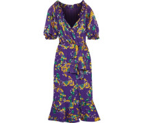 Olivia Wrap-effect Fil Coupé Silk-blend Chiffon Dress Violet