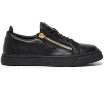 Brody Zip-detailed Leather Sneakers Black