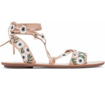 Floral-appliquéd embroidered leather lace-up sandals