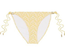 Cancun Embellished Snake-print Low-rise Bikini Briefs Pastel Yellow