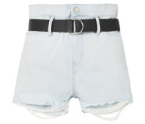 Andel Belted Distressed Denim Shorts Light Denim  5