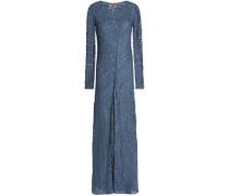 Fluted metallic crochet-knit maxi dress