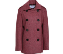 Double-breasted Wool-blend Coat Grape