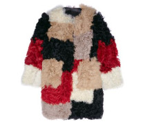 Color-block shearling coat