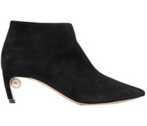 Woman Faux Pearl-embellished Suede Ankle Boots Black