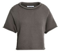 Cropped Cotton-blend Sweater Taupe