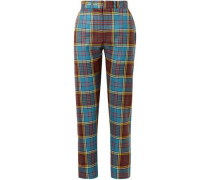 Checked Wool Straight-leg Pants Teal