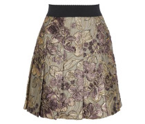 Pleated Brocade Mini Skirt Gold