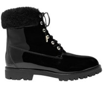 The Heilbrunner Faux Fur-trimmed Patent-leather Ankle Boots Black