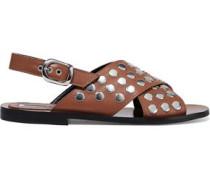 Woman Sundance Studded Leather Slingback Sandals Light Brown