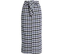 Tie-front checked jacquard midi skirt