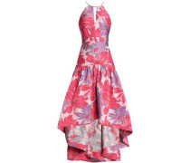 Asymmetric Brocade Gown Coral Size 12