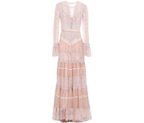 Tiered Satin-trimmed Lace And Crepe Gown Baby Pink