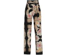 Belted printed silk wide-leg pants