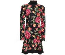 Velvet-trimmed Floral-print Crepe Turtleneck Dress Black