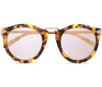 Round-frame Tortoiseshell Acetate And Rose Gold-tone Sunglasses Brown Size --