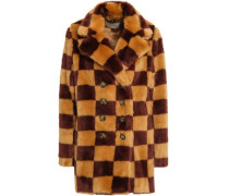 Woman Double-breasted Checked Faux Fur Coat Sand