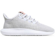 Suede-trimmed Knitted Sneakers Light Gray