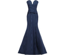 Strapless Gathered Cotton-blend Moire Gown Navy