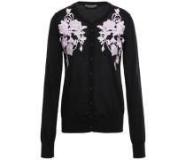 Lace-appliquéd Cashmere Cardigan Black