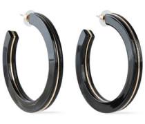 Gold-tone Acetate Hoop Earrings Black Size --