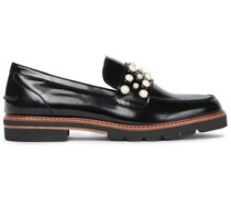 Faux Pearl-embellished Glossed-leather Loafers Black