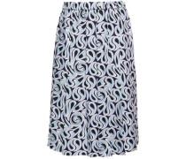 Woman Pleated Printed Silk-twill Skirt Light Blue