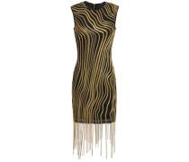 Fringed Embellished Tulle Mini Dress Black