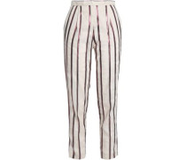 Metallic Striped Canvas Tapered Pants Ecru