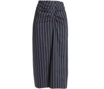 Ruched striped cotton-poplin midi skirt