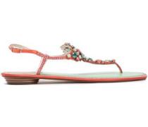Embellished Laser-cut Suede Sandals Coral