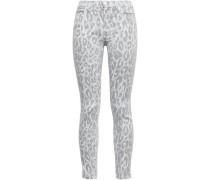 Leopard-print Mid-rise Skinny Jeans Light Gray  4