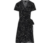 Printed Silk-chiffon Mini Wrap Dress Black
