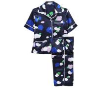 Woman Daria Printed Silk-satin Pajama Set Navy