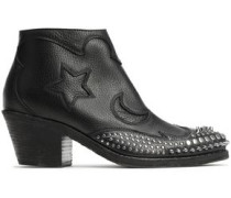 Solstice Studded Textured-leather Ankle Boots Black