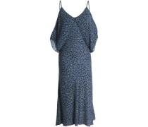 Bodacious cold-shoulder floral-print crepe de chine dress