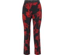 Woman Cropped Floral-print Ponte Slim-leg Pants Black